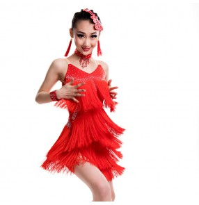 Kids children latin dresses competition professional black red orange stage performance salsa rumba dancing costumes