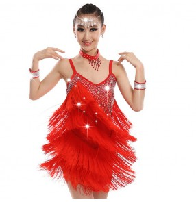 Girls latin dresses tassels red green rhinestones competition stage performance professional chacha rumba chacha dancing costumes