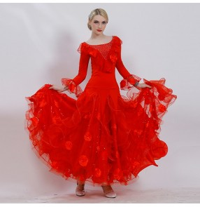 Custom size competition stage performance ballroom dancing dresses for adult children waltz tango long length flamenco dresses