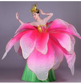 Flamenco ballroom dancing dresses petals pink gradient colored opening modern dance chorus group performance big skirted dresses