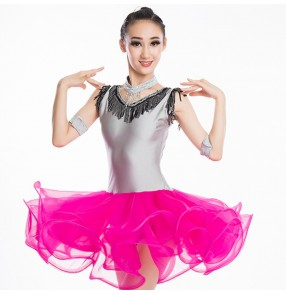 Girls pink latin dresses stage performance professional rumba salsa chacha dancing dresses skirts