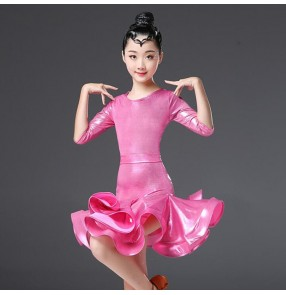 Girls latin dance dresses pink royal blue fuchsia violet stage performance rumba salsa chacha ballroom dancing costumes