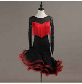 Women's girls latin dance dresses robe latine black with red stage performance samba salsa rumba chacha dancewear dance clothes