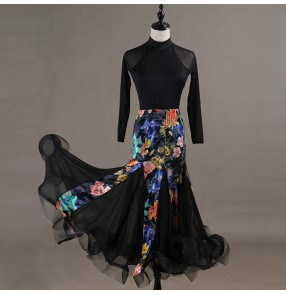 Flamenco ballroom dancing dresses floral for women female competition tango waltz dancing dresses top and skirt