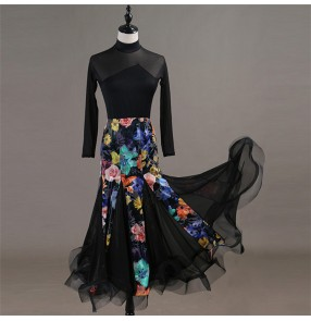 Flamenco ballroom dancing dresses floral skirts stage performance professional tango waltz dancing long dresses top and skirt