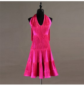 Women's girls tassels latin dresses pink tassels professional chacha rumba samba dancing skirts