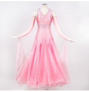 Custom size handmade light pink rhinestones ballroom competition stage performance waltz dancing dresses