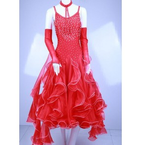 Custom size adult children ballroom dancing dresses waltz tango professional stage performance big skirted dress