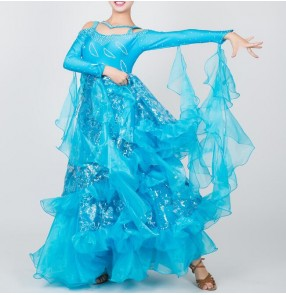 Custom size turquoise children adult ballroom dancing dresses competition professional tango waltz dancing dresses