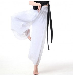 Women's ballet dance swing pants wide legs chiffon modern dance loose trousers