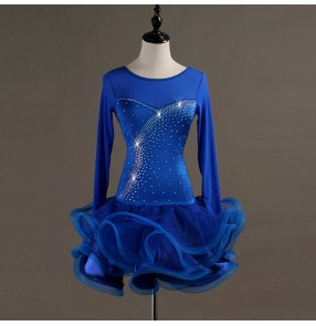 Custom size children adult latin dancing dresses rhinestones long sleeves royal blue ballroom chacha rumba salsa dance skirts dresses