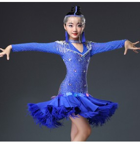 Girls latin dancing dresses royal blue pink orange rhinestones competition stage performance professional salsa chacha rumba dancing skirts dresses