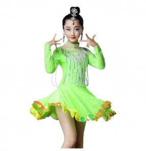 Children latin ballroom dancing dresses beads rhinestones long sleeves competition professional cosplay skirt dress