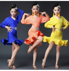 Ballroom dresses latin dancing dresses Royal blue orange competition professional chacha rumba chacha dancing costumes dresses