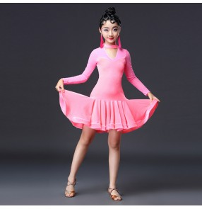 Competition ballroom latin dance dresses for kids children girls stage performance competition samba rumba dancing skirt dress