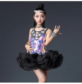 Children latin competition dresses for girls black pink white professional bling rhinestones professional rumba samba salsa dance dress skirts