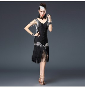 Women's black rhinestones latin dresses  girls black stage performance professional tassels salsa chacha rumba samba dancing dresses