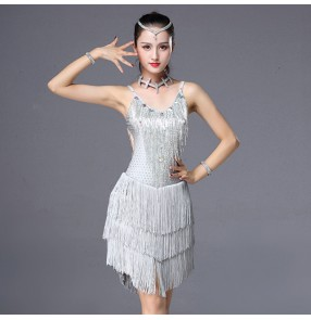 Women's latin salsa dancing dresses rhinestones silver competition professional chacha rumba samba dancing skirts dresses