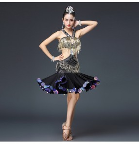 Women's competition latin dresses for female luxury professional stage performance rumba salsa beaded fringes dancing dress skirt