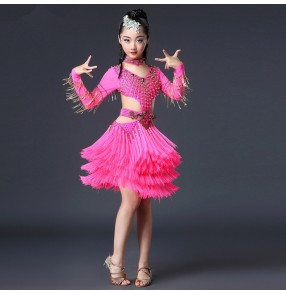 Competition latin dresses for girls children fuchsia black red luxury professional beads bling salsa samba dancing dress