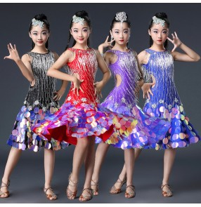 Children bling competition latin dancing dresses girls red black blue samba chacha salsa rhinestones luxury professional dancing skirts dress