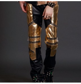 Nightclub male singer jazz host performance trousers for men's boys gold personality punk rock stage ds leather pants night bar dj costume pants