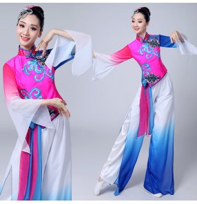 Chinese ancient traditional dance costumes  for women female pink with royal blue stage performance yangko fairy cosplay group fan dancing dresses
