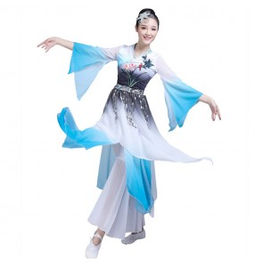 China ancient traditional yangko fan dance dress for women female blue gradient colored fan umbrella dance clothes dresses