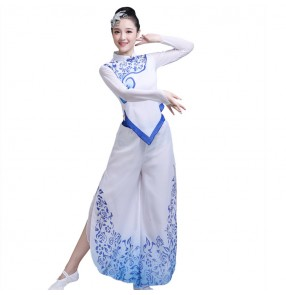 Women's Chinese folk dance dress white and blue  ancient traditional fan dancing dress stage performance fan umbrella cosplay costumes clothes