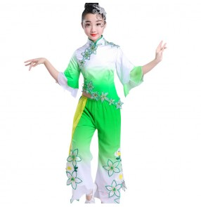 Girls chinese folk dance costumes ancient fairy yangko fan dance shcool competition stage performance drama photos cosplay dresses