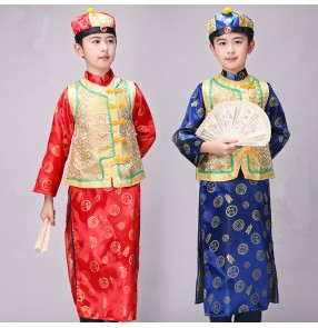 Boy chinese folk dance costumes kids qing dynasty stage performance drama ancient cosplay clothes robes