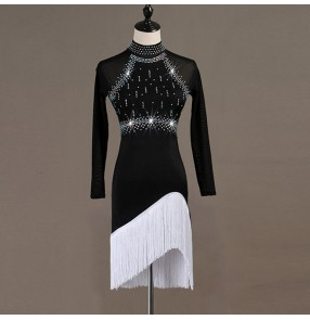 Children adult long sleeves latin dresses for women girls tassels with diamond stage performance competition ballroom salsa rumba dance dresses