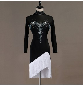 Kids adult latin dance dresses white with black with rhinestones tassels stage performance salsa rumba stage performance dance dresses