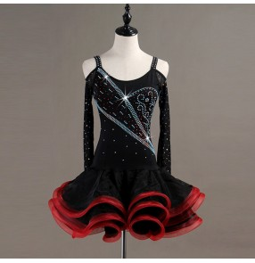 Women's children latin dance dresses black with red rhinestones rumba salsa chacha samba dance dresses skirt