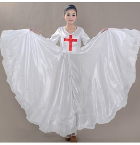 Women's Chinese folk dance dress white colored female lady chorus christian stage performance swing skirt opening dance dresses