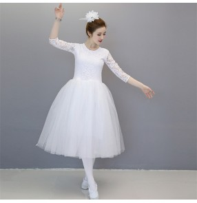 Modern dance ballet dress for women female girls white lace competition chorus singers stage performance dance dress