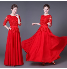 Women's evening party stage performance dresses modern dance for female lady red lace chorus singers wedding party opening dancing long dress