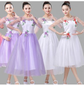 Modern dance dress for women white violet red girls singers chorus group stage performance princess dresses