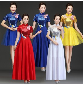 Modern dance chorus singers stage performance long dresses group dancers for women girls evening party host cosplay dresses