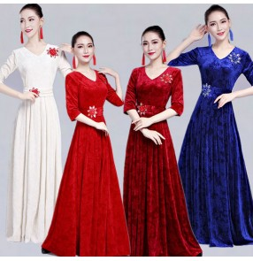 Women's chorus singers stage performance dresses cocktail evening party cosplay dresses velvet wine royal blue colored long dance dresses