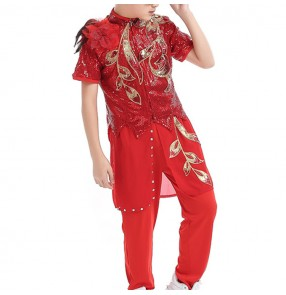 Boy jazz dance costumes host singers magician for children red paillette gogo dancers stage performance modern  hiphop street dance outfits