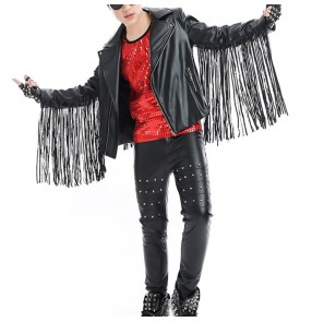 Children jazz dance street hip hop dancing outfits rivet fringes leather boys singers drummer gogo dancers studio performance jacket and pants