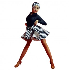 Striped ballroom latin dance dress for girls stage performance children salsa rumba dance costumes dresses