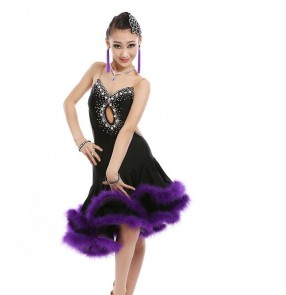 Girls competition latin dance dresses for kids children violet feather black colored stage performance competition salsa rumba chacha dancing costumes