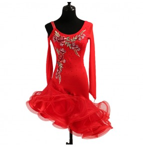 Women's latin dance dresses for female girls red color stage performance rumba salsa chacha dance dress skirts