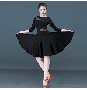 Women's girls latin dance dresses black with rhinestones competition stage performance rumba samba chacha salsa dance dress skirt