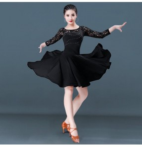 Women's girls latin  dance dresses lace black colored rumba salsa samba competition stage performance dress skirts
