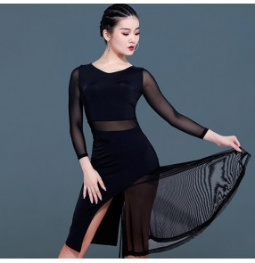 Women's girls latin dance dresses black colored long sleeves for stage performance competition rumba salsa dance skirts dress