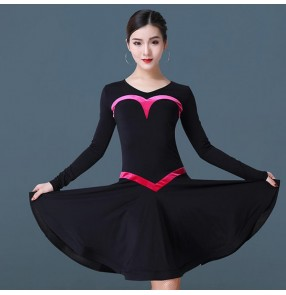 Women's salsa chacha rumba latin dance dresses for female girls stage performance competition professional dance skirt dresses
