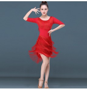 Women's girls latin dance dress red tassels fringes samba rumba chacha salsa dance dress skirts